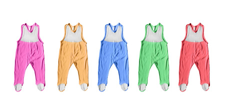 baby romper: Set of colorful baby romper suits isolated over white