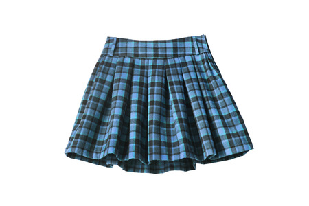 Plaid blue wool uniform skirt isolated over white Banque d'images