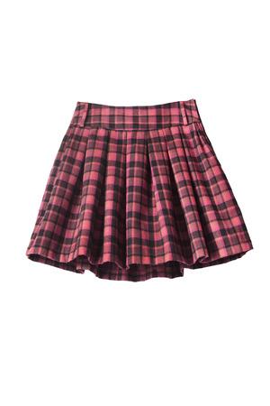 白い背景の上に格子縞のプリーツをつけられた制服スカート