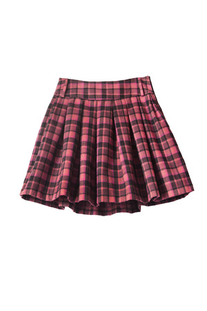 Plaid pleated uniform skirt on white background