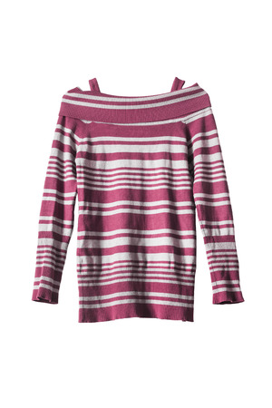 knitwear: Striped pink knitwear tunic isolated over white