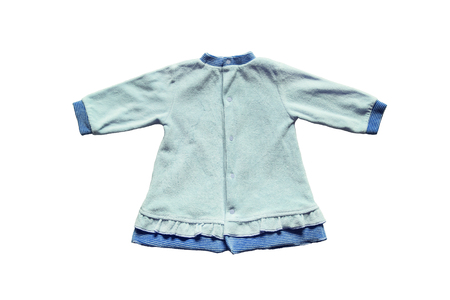 terry: Blue terry cloth baby dress on white background