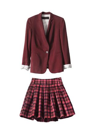 uniform skirt: Red female uniform suit on white background Stock Photo