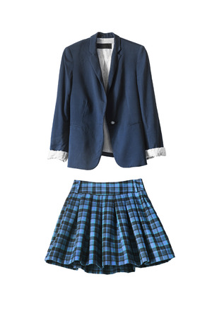 �uniform: Chaqueta de uniforme escolar azul y falda en el fondo blanco