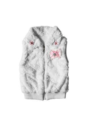 girlish: White fur girlish vest isolated over white