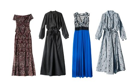 maxi dress: Four beautiful maxi dresses on white background Stock Photo
