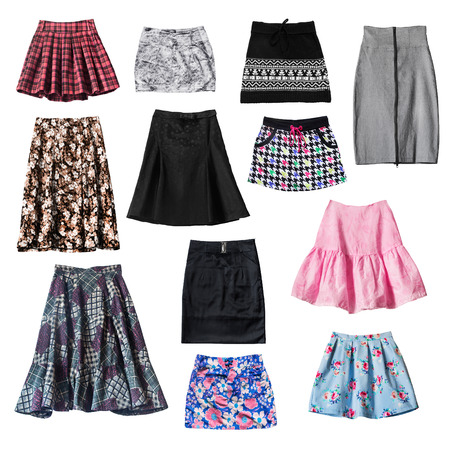Set of various skirts isolated over white photo