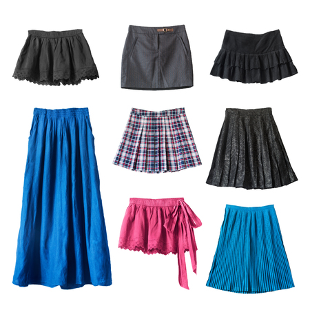 skirts: Group of various skirts on white background Stock Photo