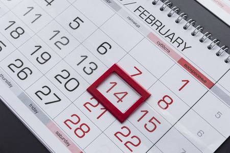 14th: February 14th on a calendar as a background Stock Photo