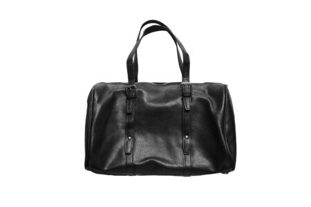 Black leather bowling bag isolated over white photo