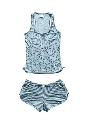 striped pajamas: Blue girlish pajamas isolated over white