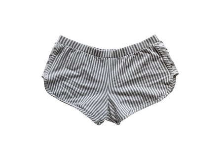 striped pajamas: Pantalones cortos de color gris a rayas sobre fondo blanco