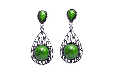 malachite: Vintage malachite earrings on white background Stock Photo