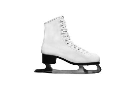 figure skating: White figure skating boot isolated over white Stock Photo