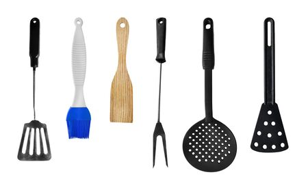 cooking utensil: Set of cooking utensils on white background