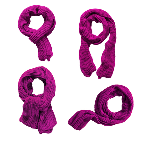 Group of knotted wool purple scarves on white background Stock Photo
