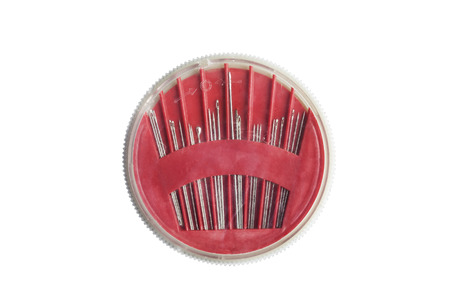 bar tool set: Red needle bar wit set of needles on white background Stock Photo