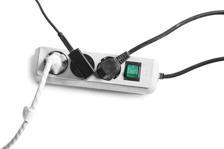the surge: Surge protector with three plugs on white background