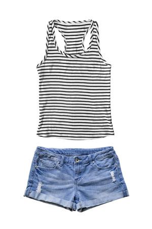 デニム ショート パンツと白で分離されたストライプのタンクトップのセット 写真素材