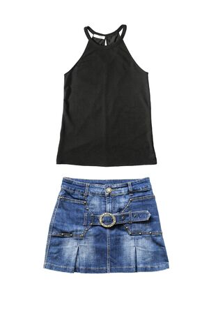 denim skirt: Set of denim skirt and black sleeveless top on white background