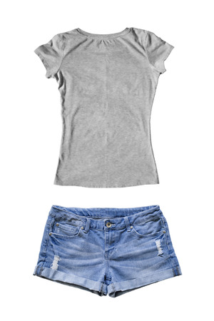 Set of jean shorts and gray t-shirt on white background
