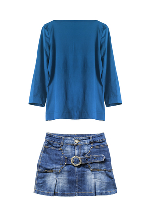 Set of jean skirt and blue silk blouse isolated over white photo
