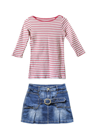 denim skirt: Set of pink striped pullover and denim skirt on white background