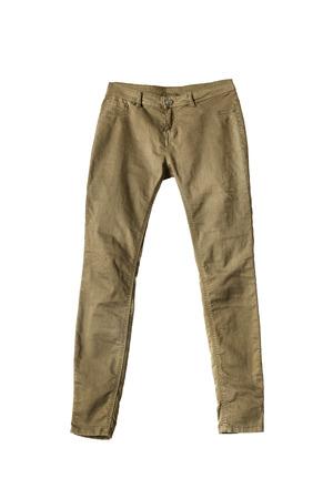 Unisex khaki pants on white background Stock Photo
