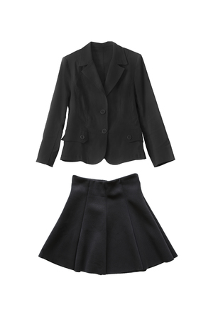 skirt suit: Black jacket and skirt suit on white background Stock Photo