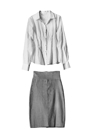formal dressing: Gray pencil skirt and white blouse on white background