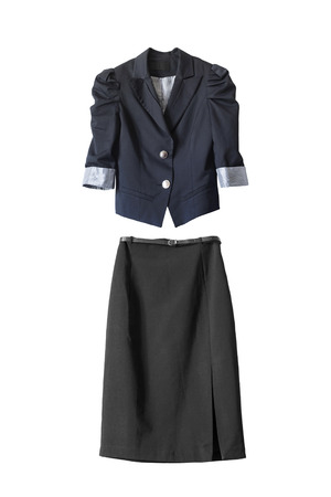 pencil skirt: Black pencil skirt and blue jacket on white background