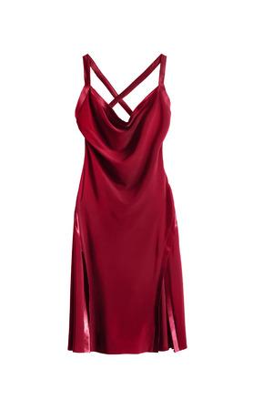 シルクの赤いカクテル ドレス白で分離 写真素材