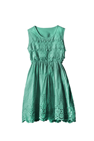 Lacy cyan sleeveless dress on white background