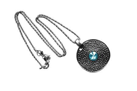 topaz: Vintage silver pendant with blue topaz on white backtround