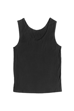 tank top: Simple black tank top isolated over white Stock Photo