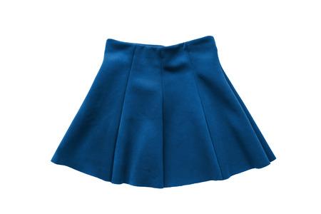 uniform skirt: Blue flared uniform skirt on white background