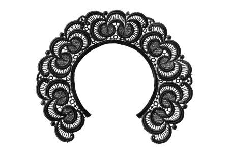Vintage black lacy collar isolated over white photo