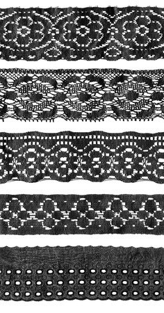 lace fabric: Set of black vintage lace isolated over white