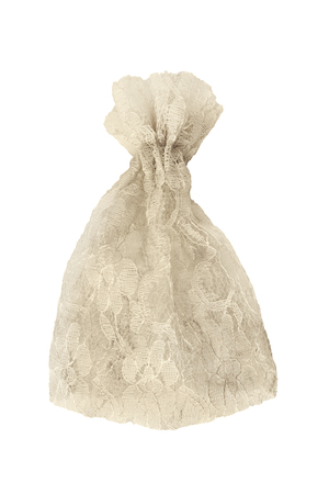lacy: Beige lacy vintage pouch on white bakground Stock Photo