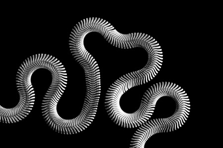 braided flexible: Abstract flexible silver chain isolated over black Stock Photo