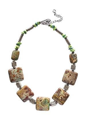 jasper: Ethnic jasper necklace isolated over white
