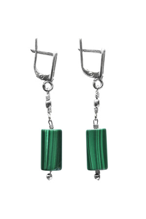 malachite: Stylish malachite earrings on white background