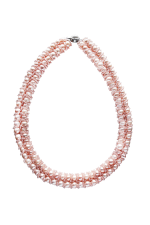 pink pearl: Pink pearl necklace on white background