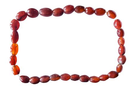 carnelian: Carnelian beads as a frame on white background