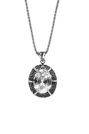 白で分離されたシルバー チェーン ダイヤモンド ペンダント 写真素材