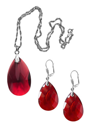 solated on white: Set of ruby pendant and earrings solated over white