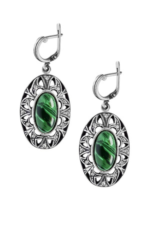 malachite: Vintage silver malachite earrings isolated over white