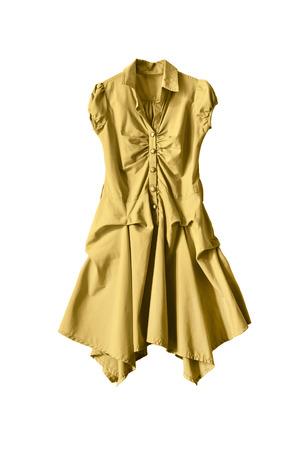 sleeveless dress: Yellow sleeveless dress isolated over white Stock Photo