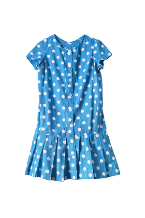 girlish: Blue girlish dress with polka dots on white background