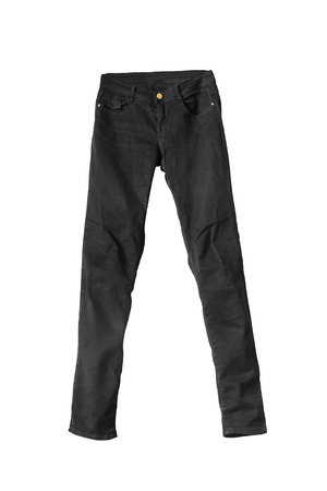 de vaqueros: Jeans negro clásico aislado más de blanco